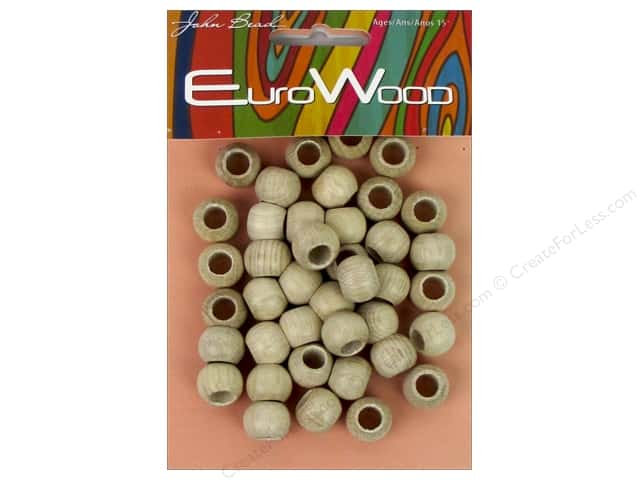 John Bead Wood Bead Round Large Hole 12x9.8mm Natural
