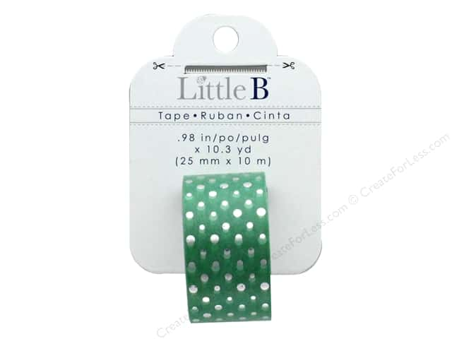 Little B Paper Tape 25mm Foil Polka Dot Mint/Silver