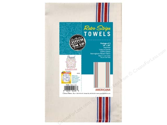 Aunt Martha's Towel Retro Herringbone Americana 3pc