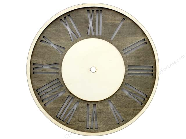 Darice Clock Face Wood Distressed With Roman Numerals