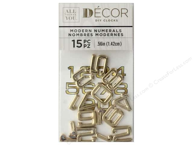 Darice All Things You DIY Clock Numbers Gold Metal Numbers in Eurostile