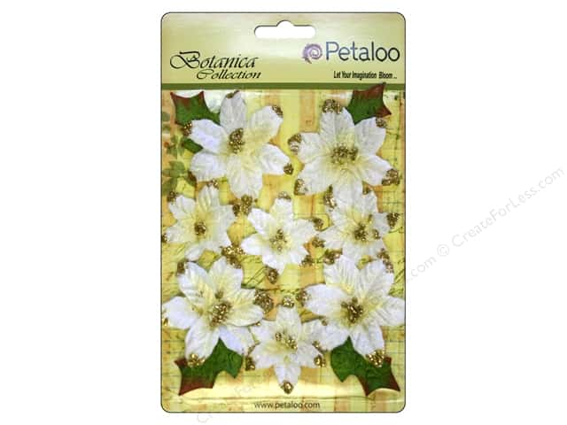Petaloo Botanica Collection Regal Gold Poinsettia White 12pc