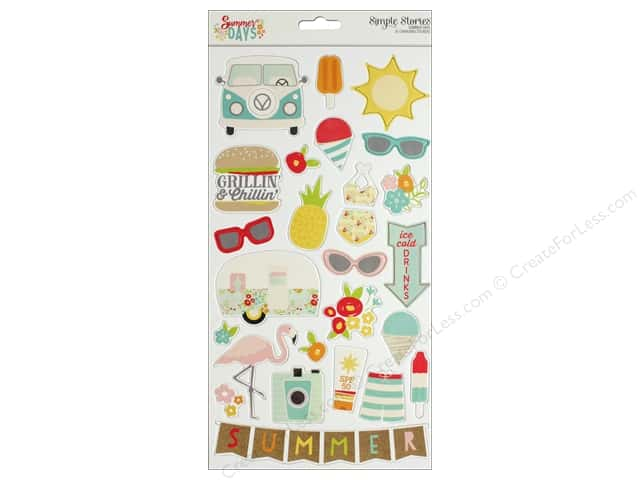 "Simple Stories Collection Summer Days Chipboard 6""x 12"""