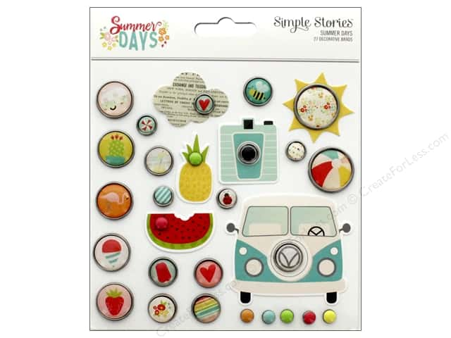 Simple Stories Collection Summer Days Decorative Brads