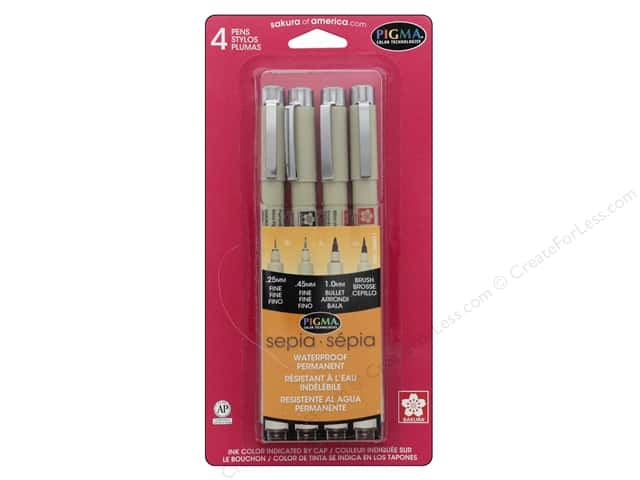 Sakura Pigma Micron Pen Set Assorted Size Sepia 4 pc.
