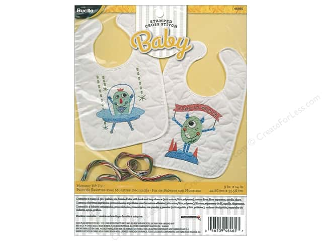 Bucilla Stamped Cross Stitch Bib Pair Kit Monster