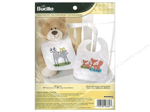 Bucilla Stamped Cross Stitch Bib Pair Kit BFF