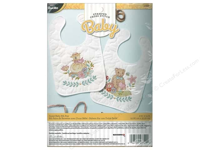 Bucilla Cross Stitch Kit Stamped Quilted Bibs Sweet Baby