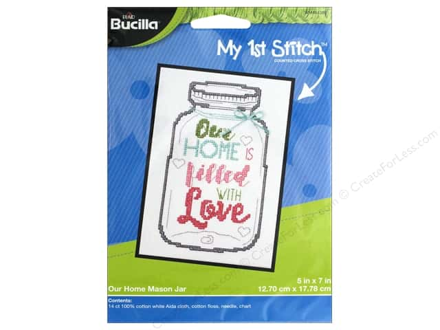 Bucilla Counted Cross Stitch Kit 5 x 7 in. Our Home Mason Jar