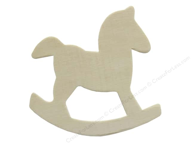 "Darice Wood Shape Unfinished 4"" Rocking Horse (12 pieces)"