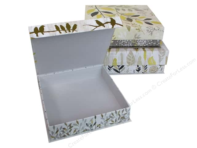 Molly & Rex Organizer Square Flap Box Botanical Set Of 3