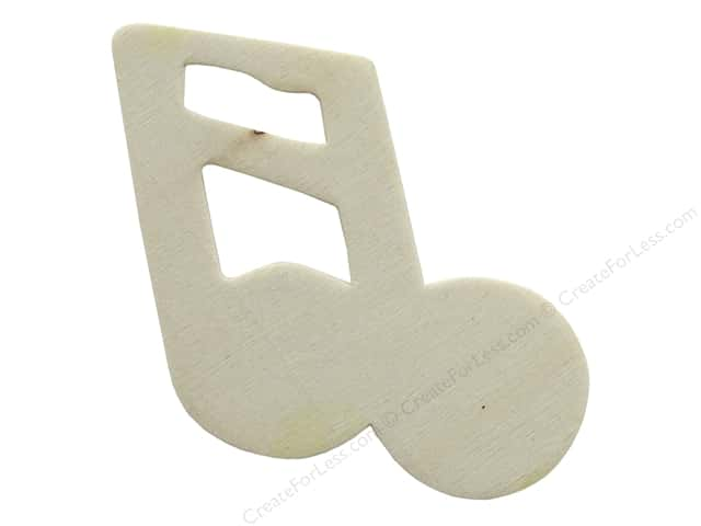 Darice Unfinished Wood Shape 3 in. Music Note 2 (12 pieces)