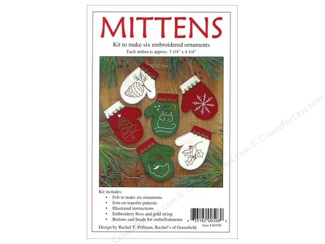 Rachel's Of Greenfield Kits Felt Mittens Ornaments