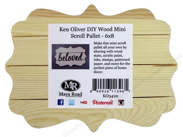 Maya Road Ken Oliver Wood DIY Mini Pallet Scroll 6 in. x 8 in.