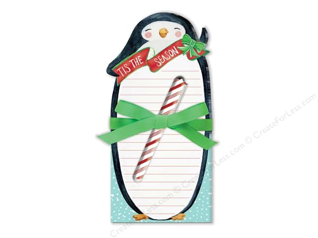 Lady Jayne Note Pad Holiday Die Cut With Pen Penguin