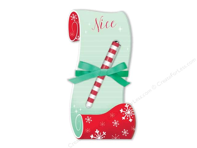 Lady Jayne Note Pad Holiday Die Cut With Pen Nice List