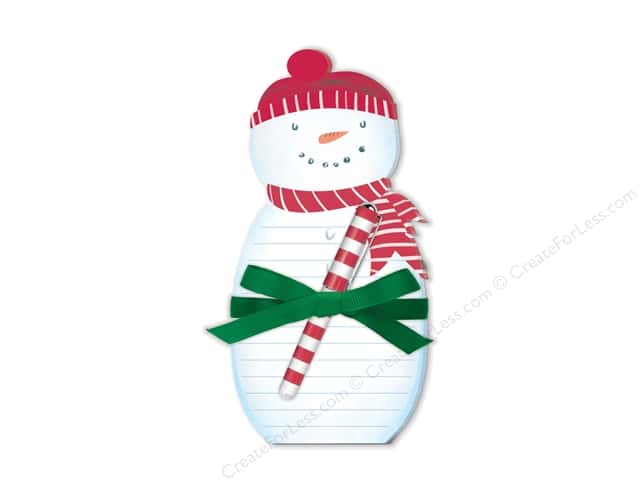 Lady Jayne Note Pad Holiday Die Cut With Pen Snowman