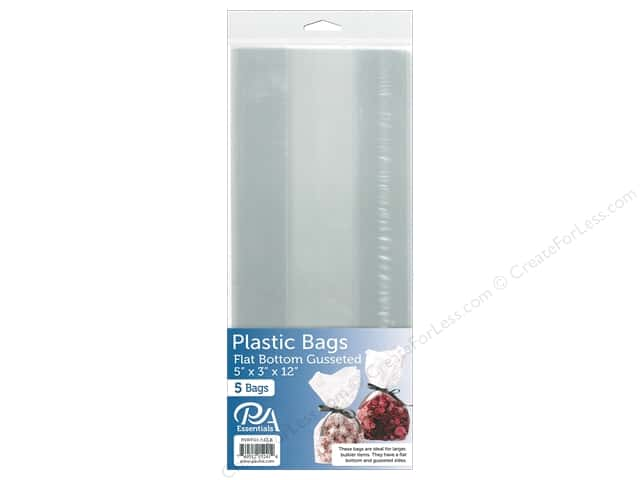 "PA Essentials Bag Flat Bottom Gusset 5""x 3""x 12"" Clear 5pc"