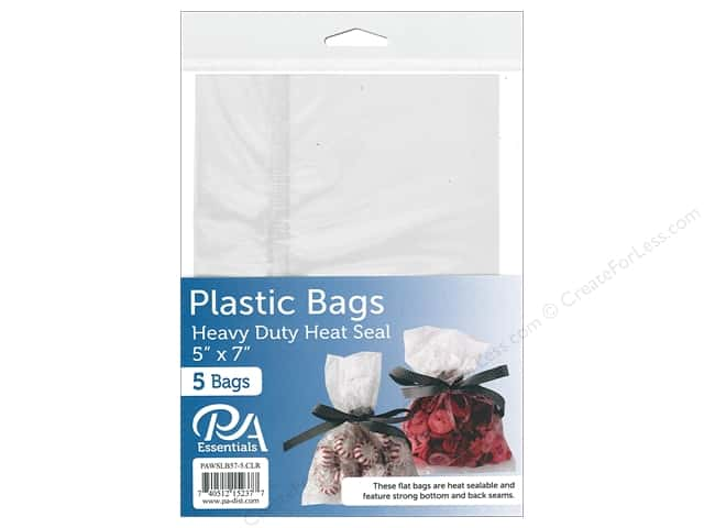 "PA Essentials Bag Heavy Duty Heat Seal 5""x 7"" Clear 5pc"