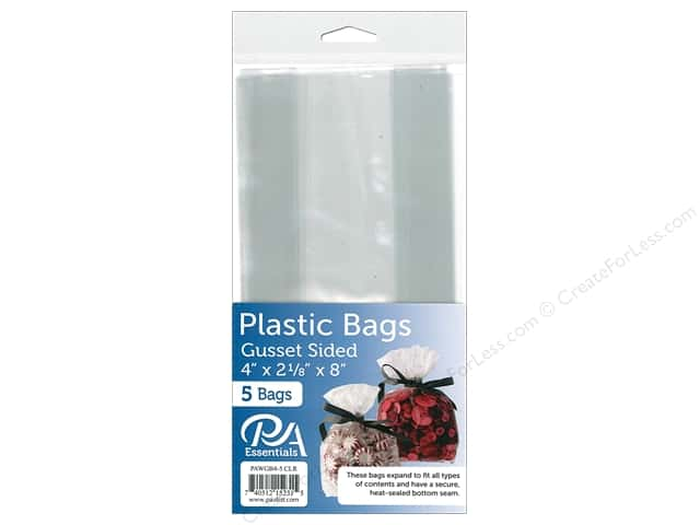 "PA Essentials Bag Gusset 4""x 2.18""x 8"" Clear 5pc"