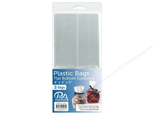 "PA Essentials Bag Flat Bottom Gusset 4""x 4""x 9"" Clear 5pc"