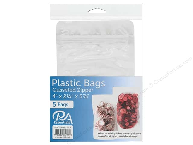 "PA Essentials Bag Zipper Gusset 4""x 2.25""x 5.88"" Clear 5pc"