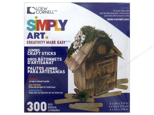 Loew Cornell Simpy Art Jumbo Craft Sticks 300 pc.