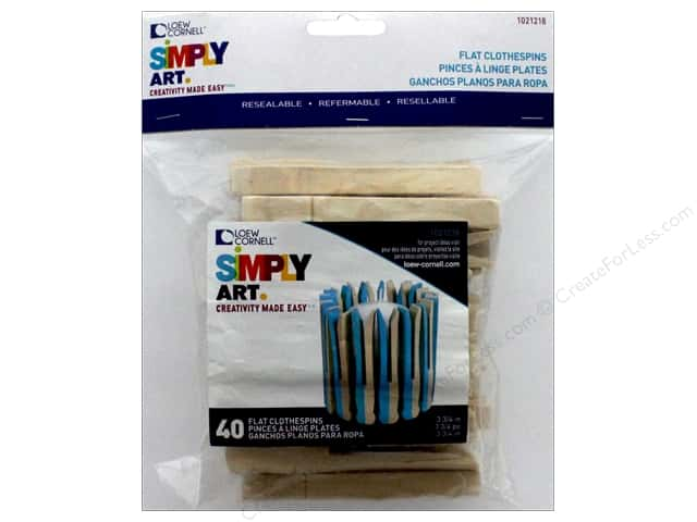Loew Cornell Simpy Art No-Roll Slotted Clothespins 40 pc.