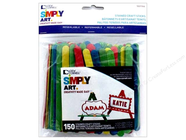 Loew Cornell Simpy Art Craft Stick 150 pc. Colored