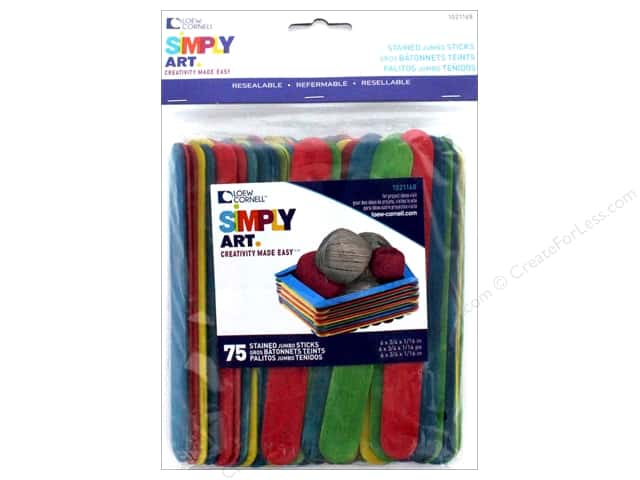 Loew Cornell Simpy Art Jumbo Craft Sticks 75 pc. Colored