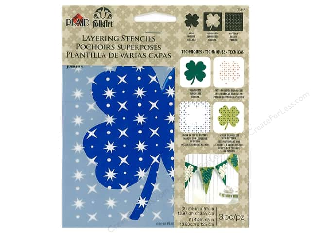 "Plaid Stencil Folkart 5.5""x 5.5"" Shamrock 3pc"