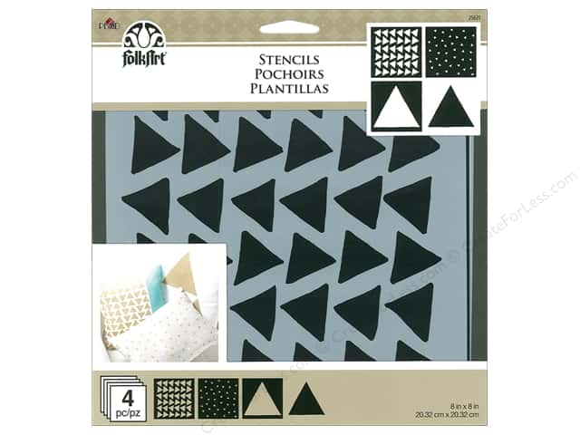 "Plaid Stencil Folkart 8""x 8"" Triangles 4pc"