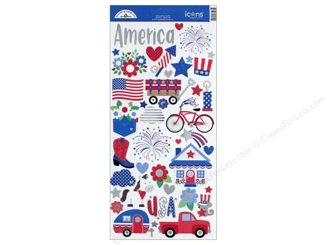 Doodlebug Collection Yankee Doodle Sticker Icons (12 sets)