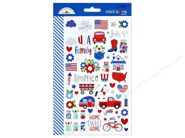 Doodlebug Collection Yankee Doodle Sticker Mini Icons (12 sets)