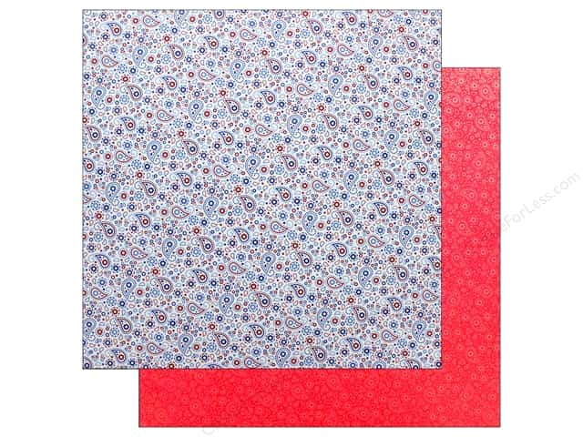 Doodlebug Collection Yankee Doodle Paper 12 in. x 12 in. Patriotic Paisley (25 pieces)