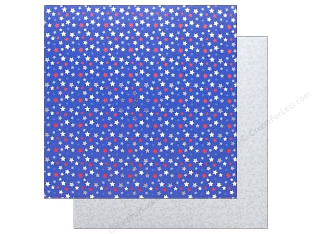 """Doodlebug Collection Yankee Doodle Paper 12""""x 12"""" Foil Star Spangled (25 pieces)"""