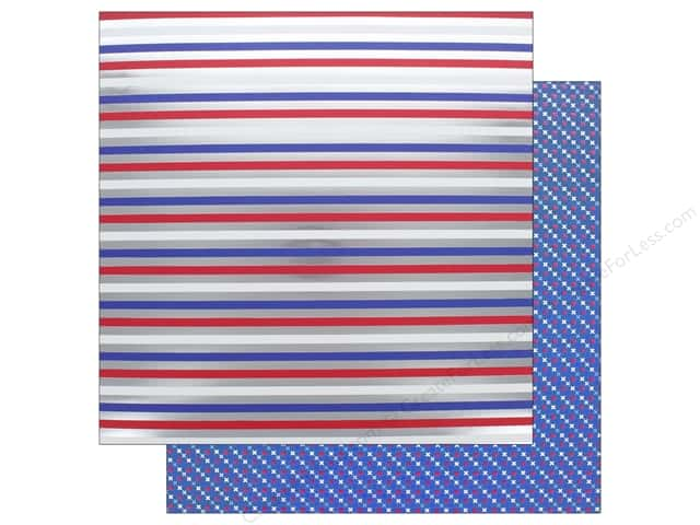 "Doodlebug Collection Yankee Doodle Paper 12""x 12"" Foil Stripes (25 pieces)"
