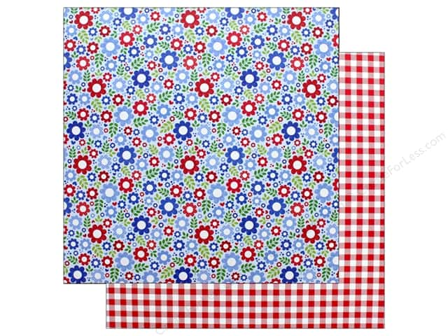 "Doodlebug Collection Yankee Doodle Paper 12""x 12"" Festive Flowers (25 pieces)"