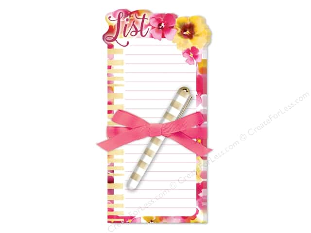 Lady Jayne Note Pad Die Cut Floral With Pen Pink/Yellow