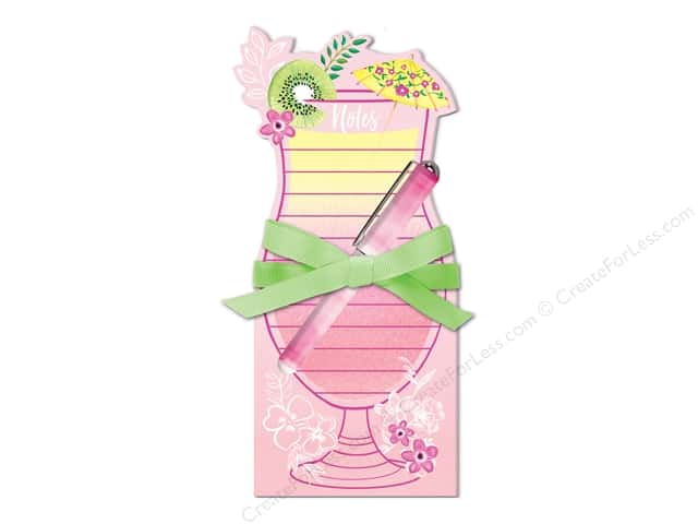 Lady Jayne Note Pad Die Cut With Pen Tropical Cocktail