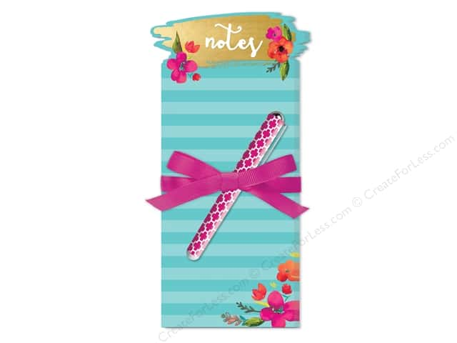 Lady Jayne Note Pad Die Cut Floral With Pen Teal