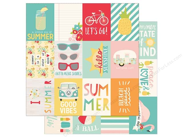Simple Stories Collection Summer Days Paper  12 in. x 12 in. Journaling Card Elements 3 in. x 4 in. (25 pieces)