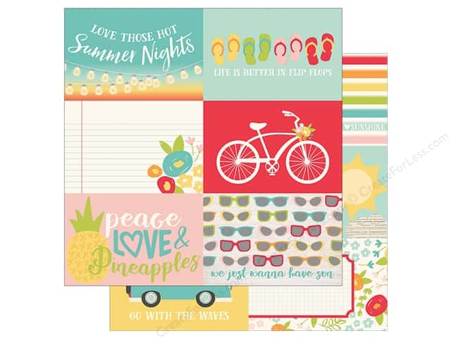 Simple Stories Collection Summer Days Paper 12 in. x 12 in. Elements Horizontal 6 in. x 4 in. (25 pieces)