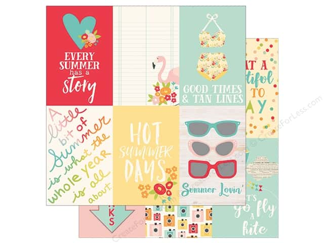 Simple Stories Collection Summer Days Paper  12 in. x 12 in. Elements Vertical 4 in. x 6 in. (25 pieces)