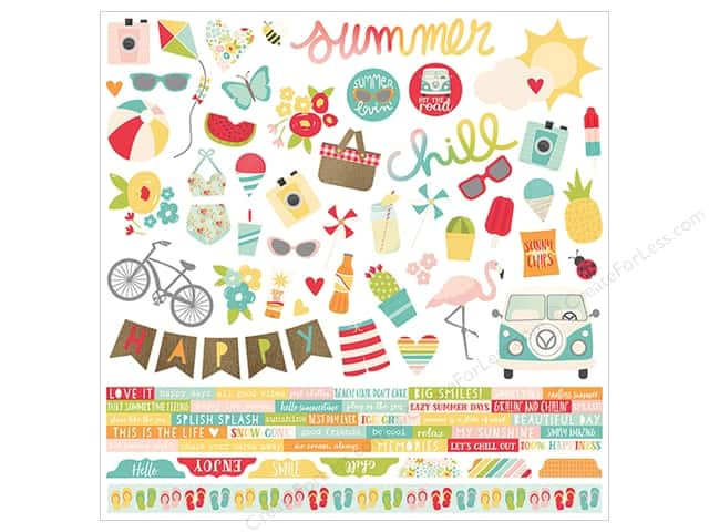 Simple Stories Collection Summer Days Sticker Combo  12 in. x 12 in. (12 pieces)