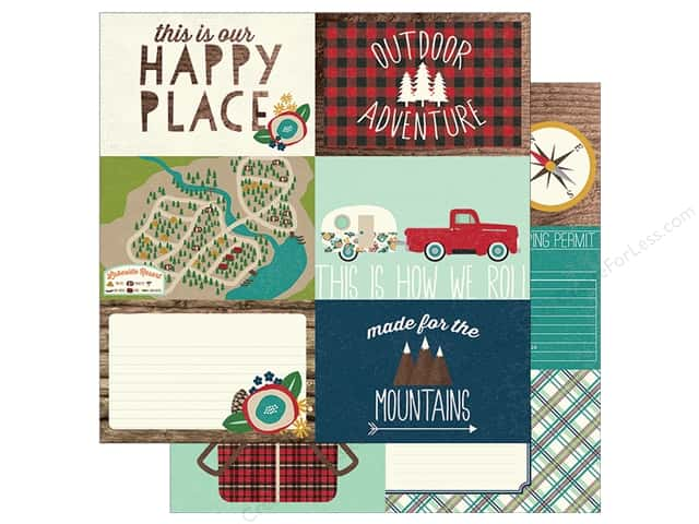 "Simple Stories Collection Cabin Fever Paper  12 in. x 12 in. Elements Horizontal 6""x 4"" (25 pieces)"