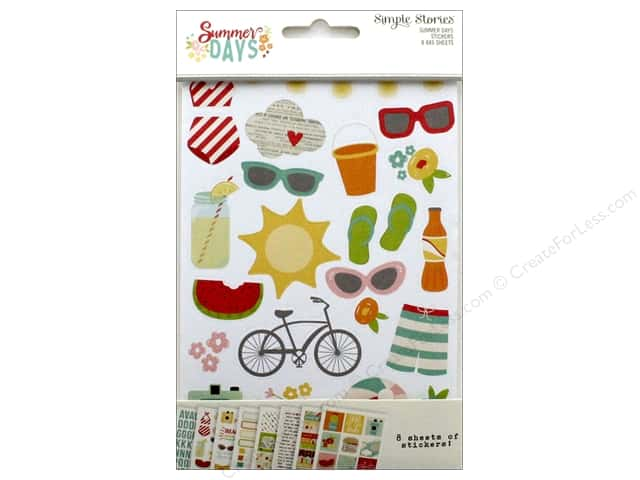 Simple Stories Collection Summer Days Stickers 4 in. x 6 in.