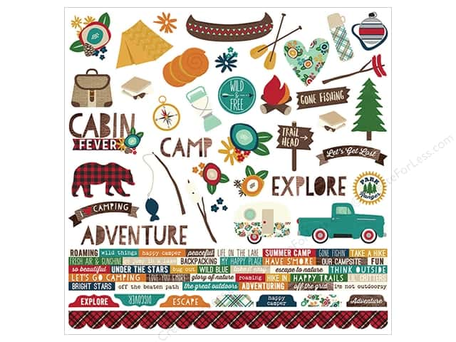 Simple Stories Collection Cabin Fever Sticker Combo  12 in. x 12 in. (12 pieces)