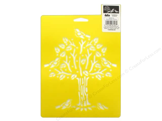 Delta Stencil Mania 7 in. x 10 in. Tree With Birds