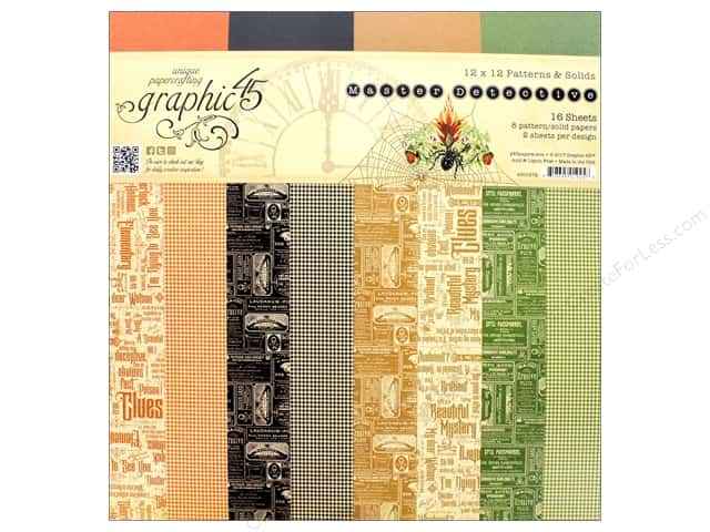 """Graphic 45 Collection Master Detective Paper Pad 12""""x 12"""" Patterns/Solids"""